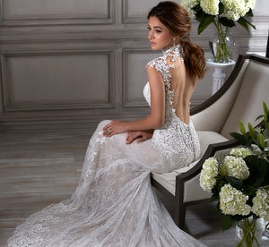 Della Lace Platinum Mermaid Wedding Gown In Ivory Ivory Nude