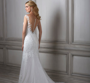 Lara Illusion Neckline Hand-Beaded Platinum Wedding Gown In Ivory Lt Oyster Nude