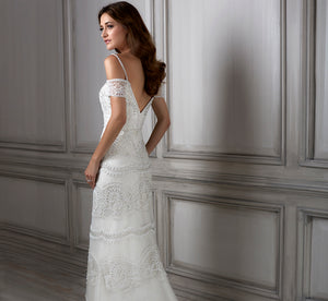 Viola Hand-Beaded Band Slim Platinum Wedding Gown In White White Silver