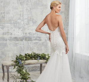Strapless Sweetheart Platinum Wedding Gown In Ivory Ivory