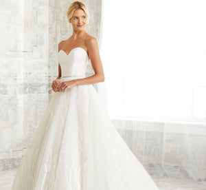Ballgown-Inspired Platinum Wedding Gown With Corset In Ivory Silver