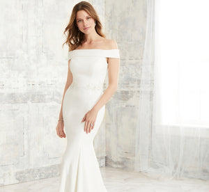 Off-The-Shoulder Fit-And-Flare Platinum Wedding Gown In Ivory Silver