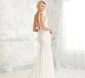 Deep V Mermaid Platinum Wedding Gown In Ivory Ivory