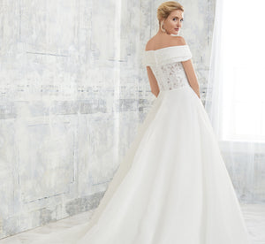 Double Portrait Collar Platinum Wedding Gown In Ivory