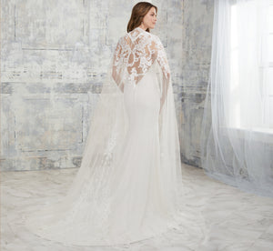 Detachable Tulle Hand-Beaded Floral Platinum Wedding Cape In Ivory