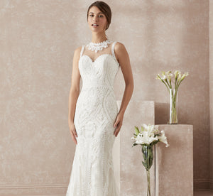 Fluted Tulle & Lace Platinum Wedding Gown In Ivory Ivory