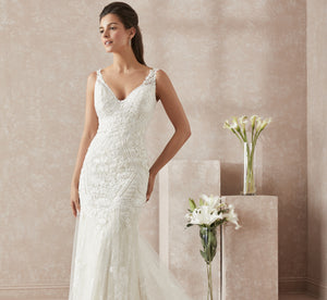 Mermaid Platinum Wedding Gown With Lace Accents In Ivory Ivory