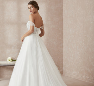 Pleated Tulle Platinum Wedding Dress With Lace Corset In Ivory Ivory