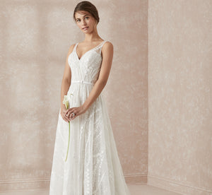 Allover Lace A-Line Platinum Wedding Gown In Ivory Ivory