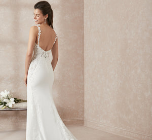 Fit-And-Flare Platinum Wedding Gown In Crepe In Ivory Ivory