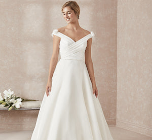 Organza A-Line Platinum Wedding Gown In Ivory Ivory