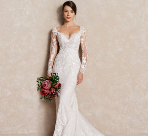 Platinum Sequin & Lace Slim Wedding Gown In Ivory Ivory