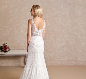 Platinum Hand-Beaded Sleeveless Wedding Gown In Ivory Ivory