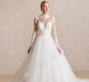 Platinum Lace & Tulle Ballgown-Inspired Wedding Gown In Ivory Ivory
