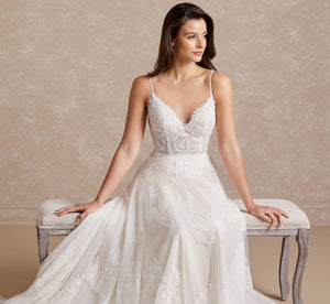 Platinum Lace Semi A-Line Sweetheart Wedding Gown In Ivory Ivory
