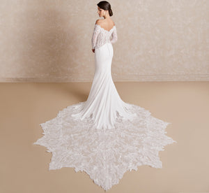 Platinum Crepe & Lace Off-The-Shoulder Wedding Gown In Ivory Ivory