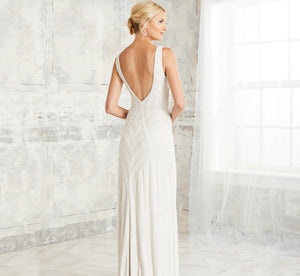 Allover Hand-Bead Fluted Platinum Wedding Gown In Ivory Ivory