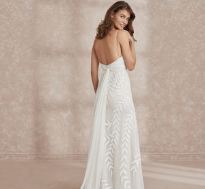 Embroidered Boho Luxe Platinum Wedding Gown In Ivory Ivory