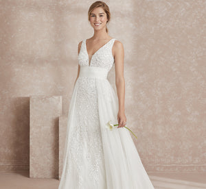 Allover Hand-Beaded Platinum Wedding Gown In Ivory Ivory