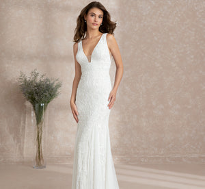 Hand-Beaded Allover Floral Platinum Wedding Gown In Ivory Ivory