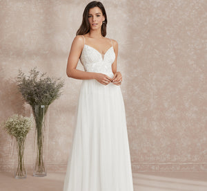Allover Hand-Beaded Bodice Platinum Wedding Gown In Ivory Ivory