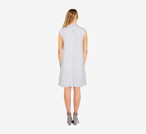 Printed Knit Ruffle Neck Dress In Ivory Basic Dot