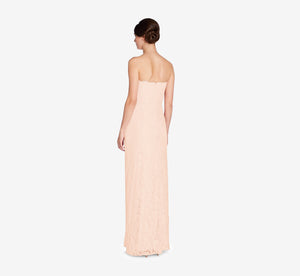 Astrid Strapless Lace Dress In Blush