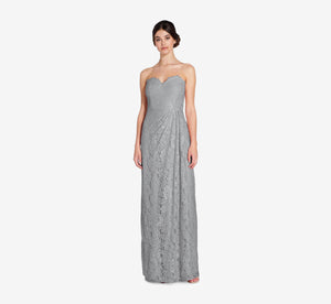 Astrid Strapless Lace Dress In Slate Grey