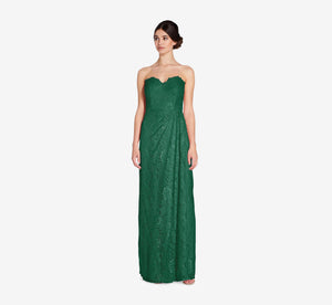 Astrid Strapless Lace Dress In Evergreen