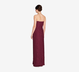 Astrid Strapless Lace Dress In Cabernet