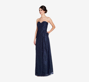 Astrid Strapless Lace Dress In Navy