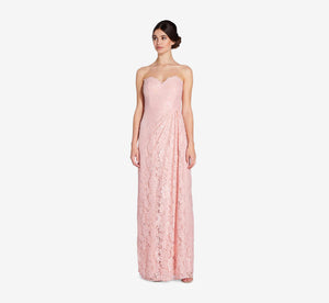Astrid Strapless Lace Dress In Rose