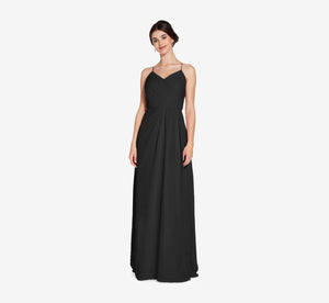 Camille Sleeveless Chiffon Dress With Pleated Bodice In Black