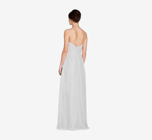 Camille Sleeveless Chiffon Dress With Pleated Bodice In Whisper