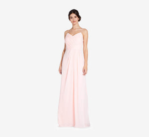 Camille Sleeveless Chiffon Dress With Pleated Bodice In Blush