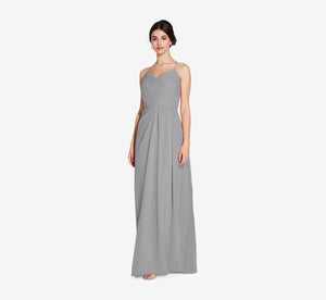 Camille Sleeveless Chiffon Dress With Pleated Bodice In Slate Grey