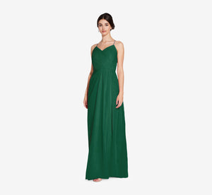 Camille Sleeveless Chiffon Dress With Pleated Bodice In Evergreen