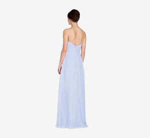 Camille Sleeveless Chiffon Dress With Pleated Bodice In Cloudy