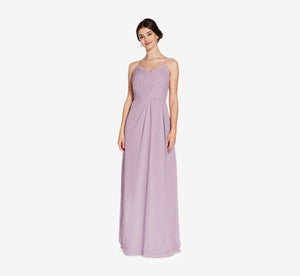 Camille Sleeveless Chiffon Dress With Pleated Bodice In Dusty Lilac
