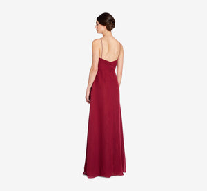 Camille Sleeveless Chiffon Dress With Pleated Bodice In Cabernet