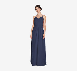 Camille Sleeveless Chiffon Dress With Pleated Bodice In Navy