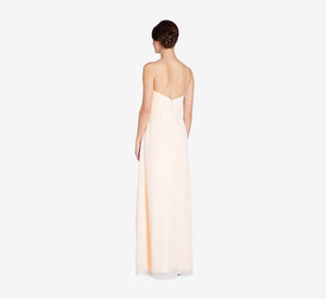 Camille Sleeveless Chiffon Dress With Pleated Bodice In Champagne