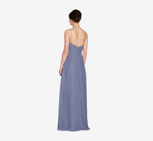 Camille Sleeveless Chiffon Dress With Pleated Bodice In Dusty Blue