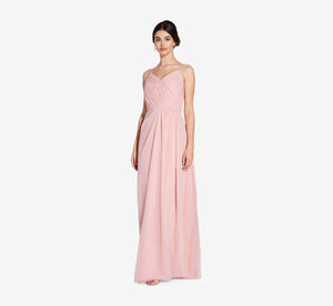 Camille Sleeveless Chiffon Dress With Pleated Bodice In Rose