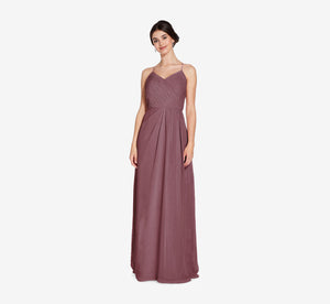 Camille Sleeveless Chiffon Dress With Pleated Bodice In Marsala