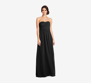 Charlotte Strapless Chiffon Dress With Pleated Bodice In Black