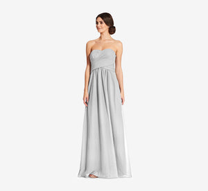 Charlotte Strapless Chiffon Dress With Pleated Bodice In Whisper