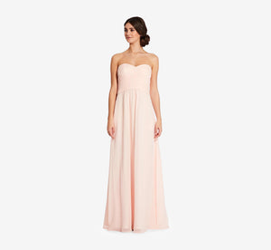 Charlotte Strapless Chiffon Dress With Pleated Bodice In Blush