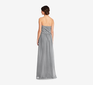 Charlotte Strapless Chiffon Dress With Pleated Bodice In Slate Grey