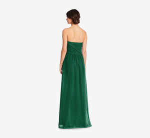 Charlotte Strapless Chiffon Dress With Pleated Bodice In Evergreen
